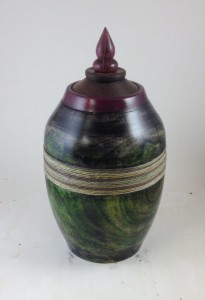 Turned sycamore urn with earth tones